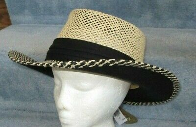 NWT Scala 2 Tone Gambler Hat Woven L/XL Cruise Beach Panama Wide Brim #fashion #clothing #shoes #accessories #specialty #vintage (ebay link)