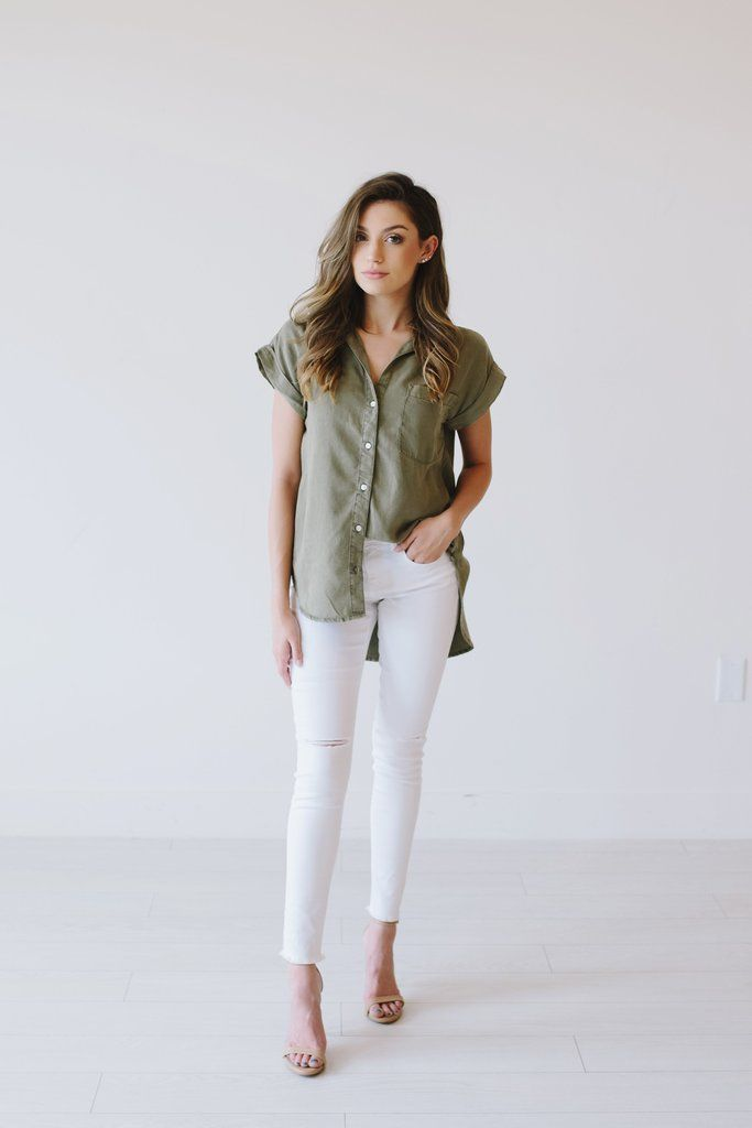 Oliver Top From Meadow And Magnolias Olive Green Shirt With White Pants Olive Green Shirt Fashion Outfits Clothes For Women