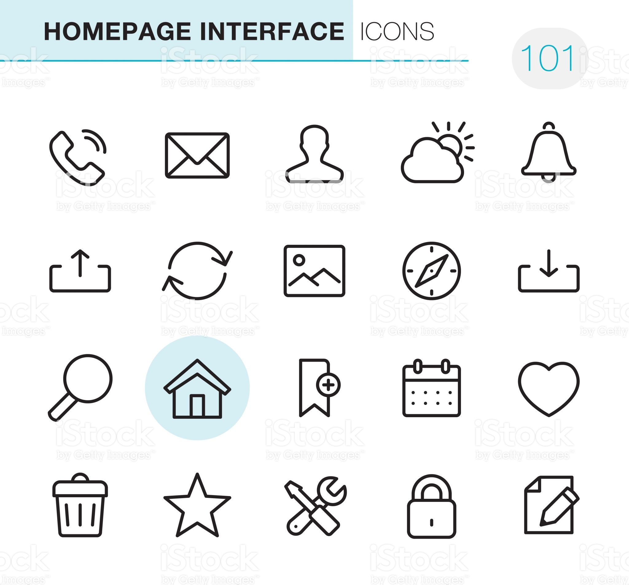 20 Outline Style Black line Pixel Perfect icons