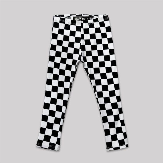 ca3d717458e4c Check Mate Leggings// checkered toddlers babies high waisted black and white  checkers cotton spandex