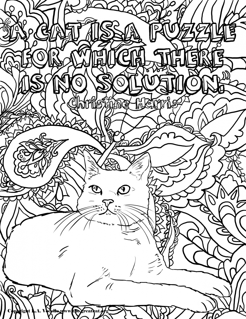 Free Coloring Pages Lets Color Cat Coloring Page Free
