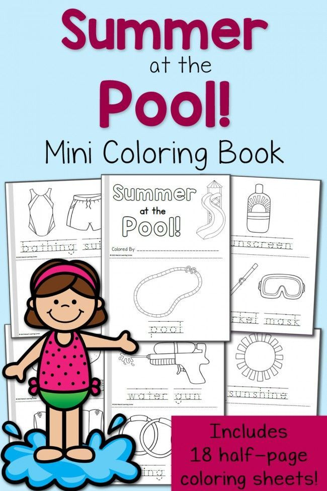 Summer Coloring Pages: At the Pool! | Pinterest | Imprimibles y Dibujar