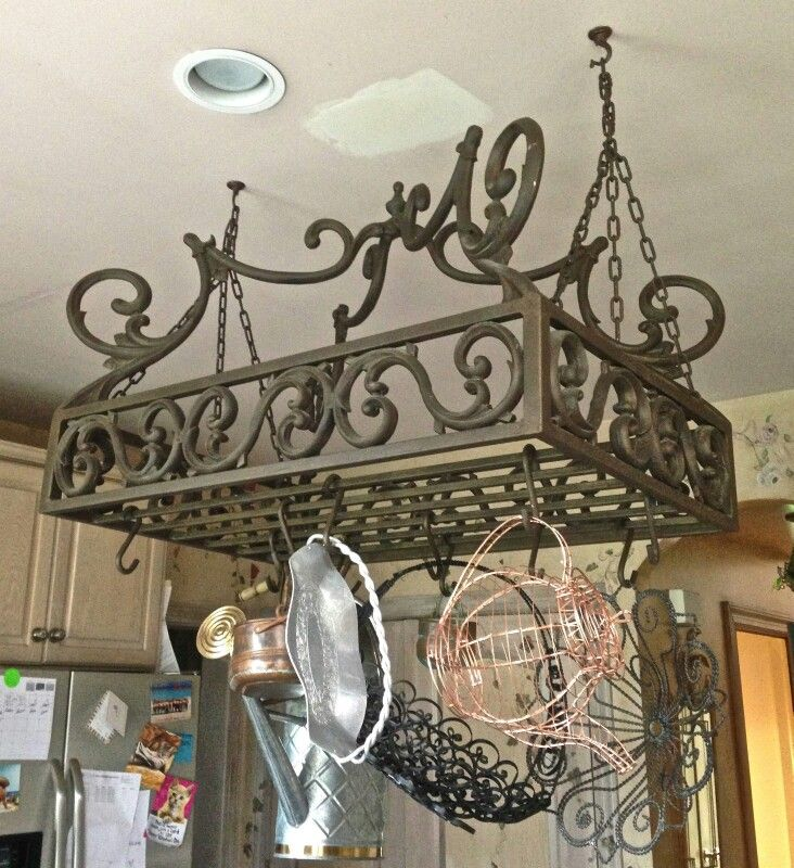 Wrought Iron Pot Rack With Images Pot Hanger Kitchen Kitchen