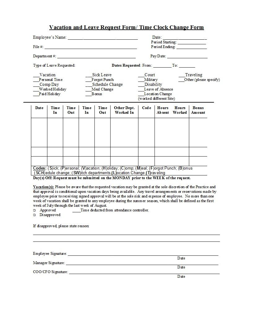 Vacation Request Form Example Professional Employee Forms Inside Travel Request Form Template Free Business Proposal Template Plan Book Template Word Template
