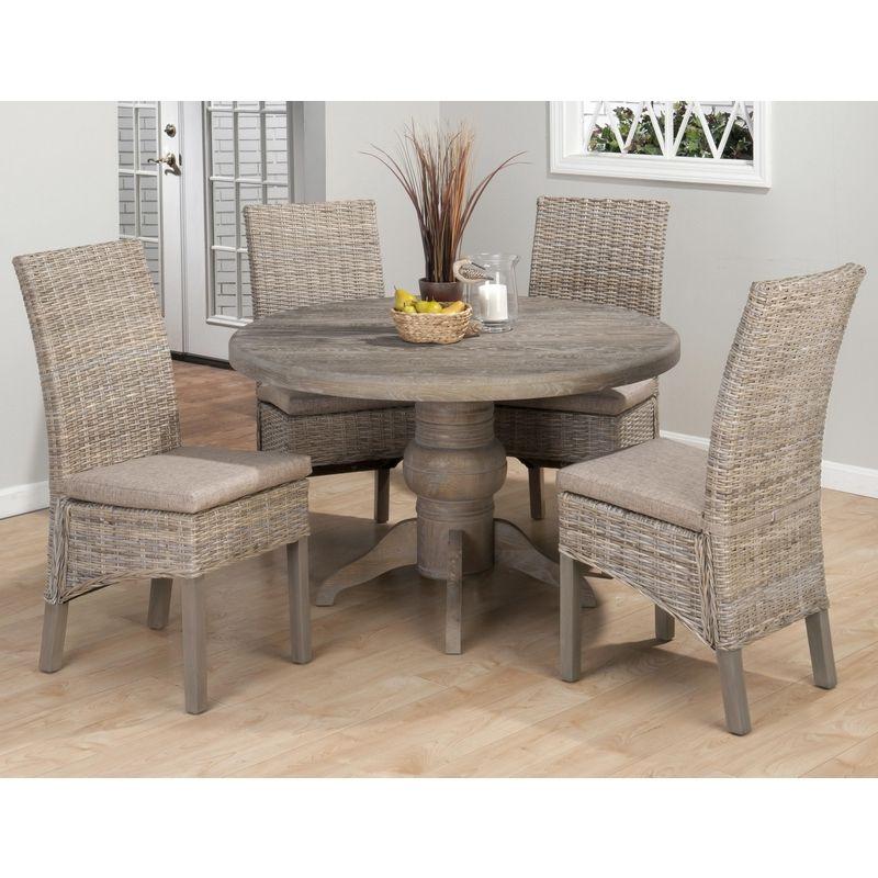 Burnt Grey Coastal 5 Piece Pedestal Dining Table U0026 Rattan Chairs Set  #dynamic_home #coastal