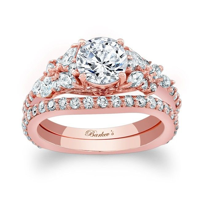 rose gold bridal set 7950spw this exquisite rose gold diamond engagement set features a - Rose Gold Wedding Ring Set
