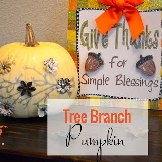 TexMex Crafting: Tree Branch Painted Pumpkin