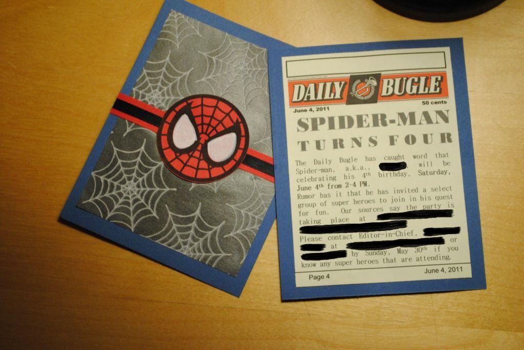 Make Your Own Spider Man Birthday Invitations
