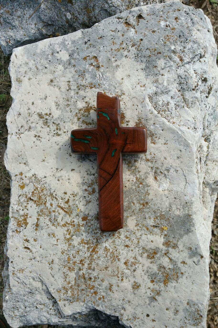 Inlaid ooak handmade wood cross made from texas honey mesquite inlaid ooak handmade wood cross made from texas honey mesquite burl green sand inlay amipublicfo Gallery