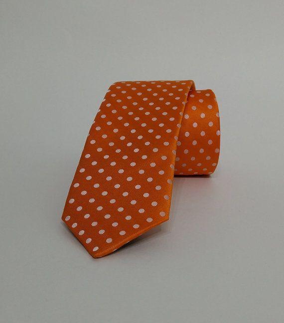 Orange tie - Orange necktie - Orange cravat - DK427 #handmadeatamazon #nazodesign