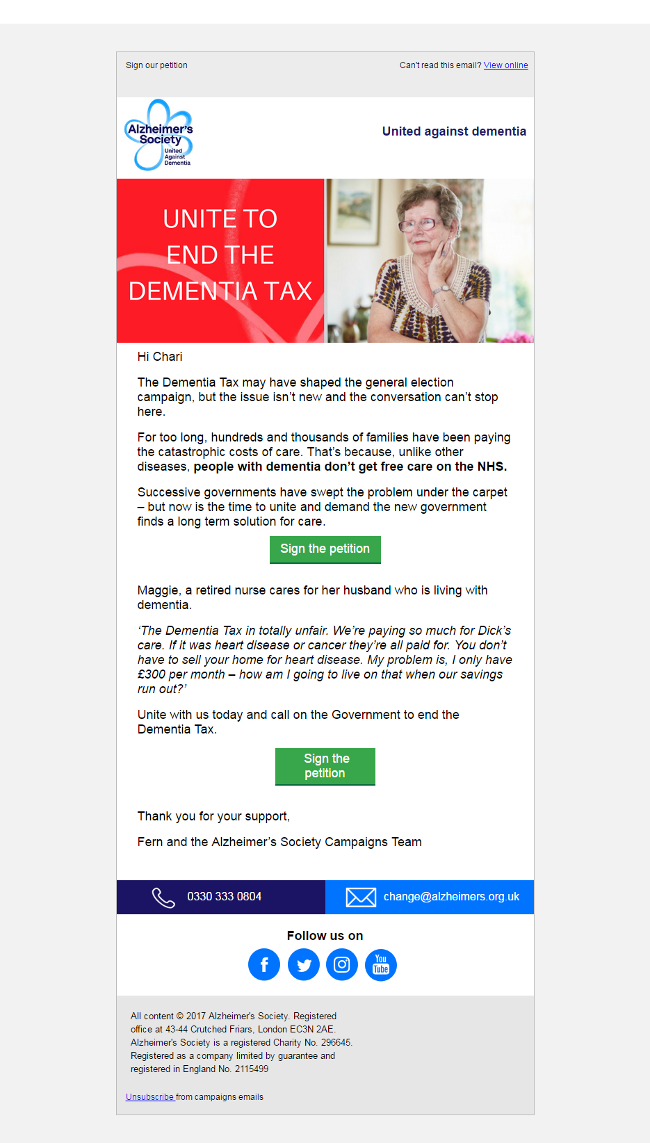 AlzheimerS Society Sign The Petition To End The Dementia Tax
