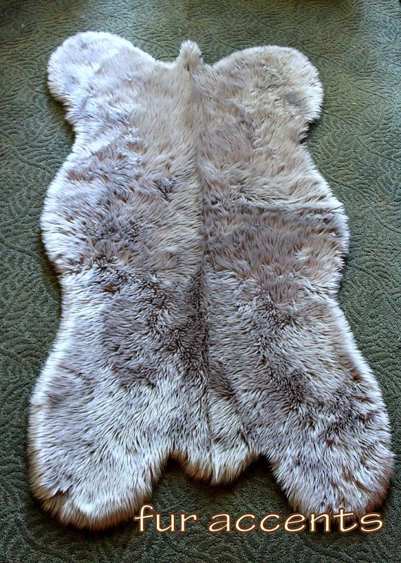 3 X5 Fake Sheepskin Area Rug Gray Faux Fur Bear Skin
