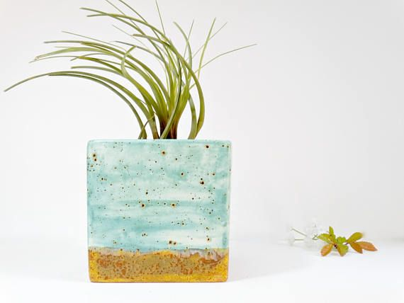 Modern Turquoise Planter Ceramic Planter Desk Planter Large