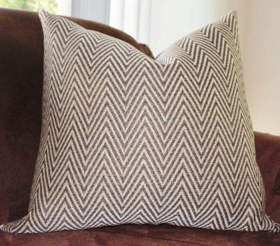 Charcoal Gray Pillow Steel Grey Taupe Gold Zig Zag