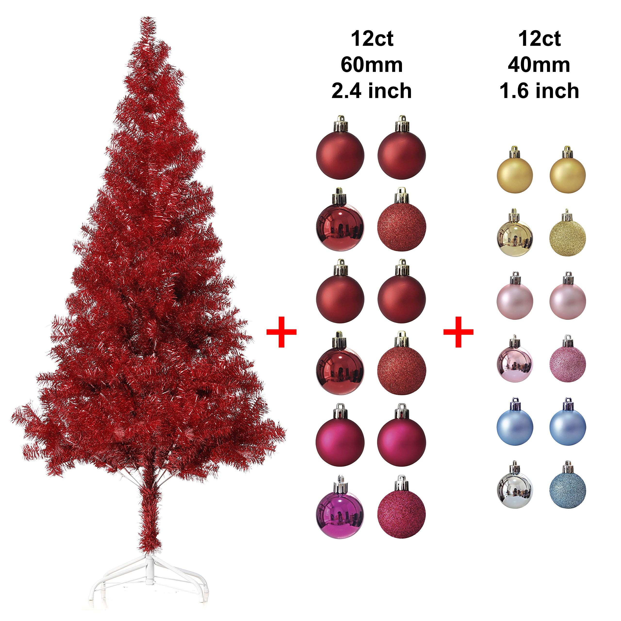 Wellwood 6 Ft Tinsel Christmas Tree With 24ct Assorted Ornament Set Metal Stand Easy Assembly Red You Ca Tinsel Christmas Tree Christmas Tree Ornament Set