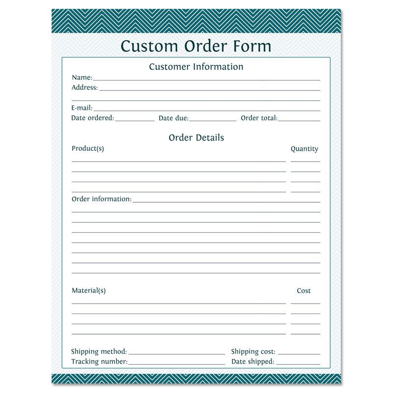 Custom Order Form Fillable Business Planner By Organizelife