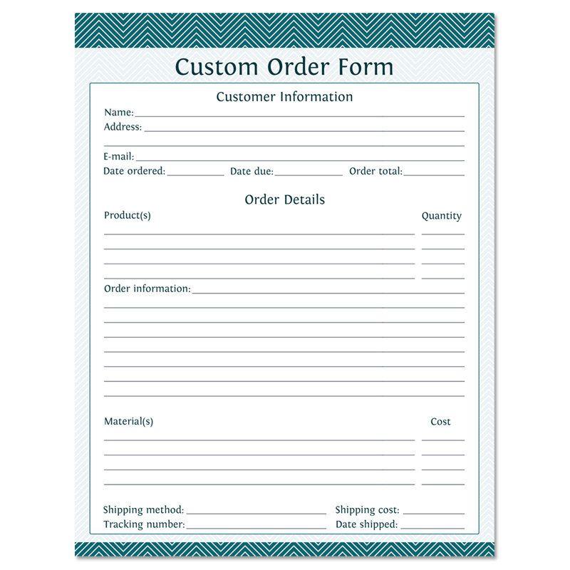 Custom Order Form Fillable Business Planner Printable