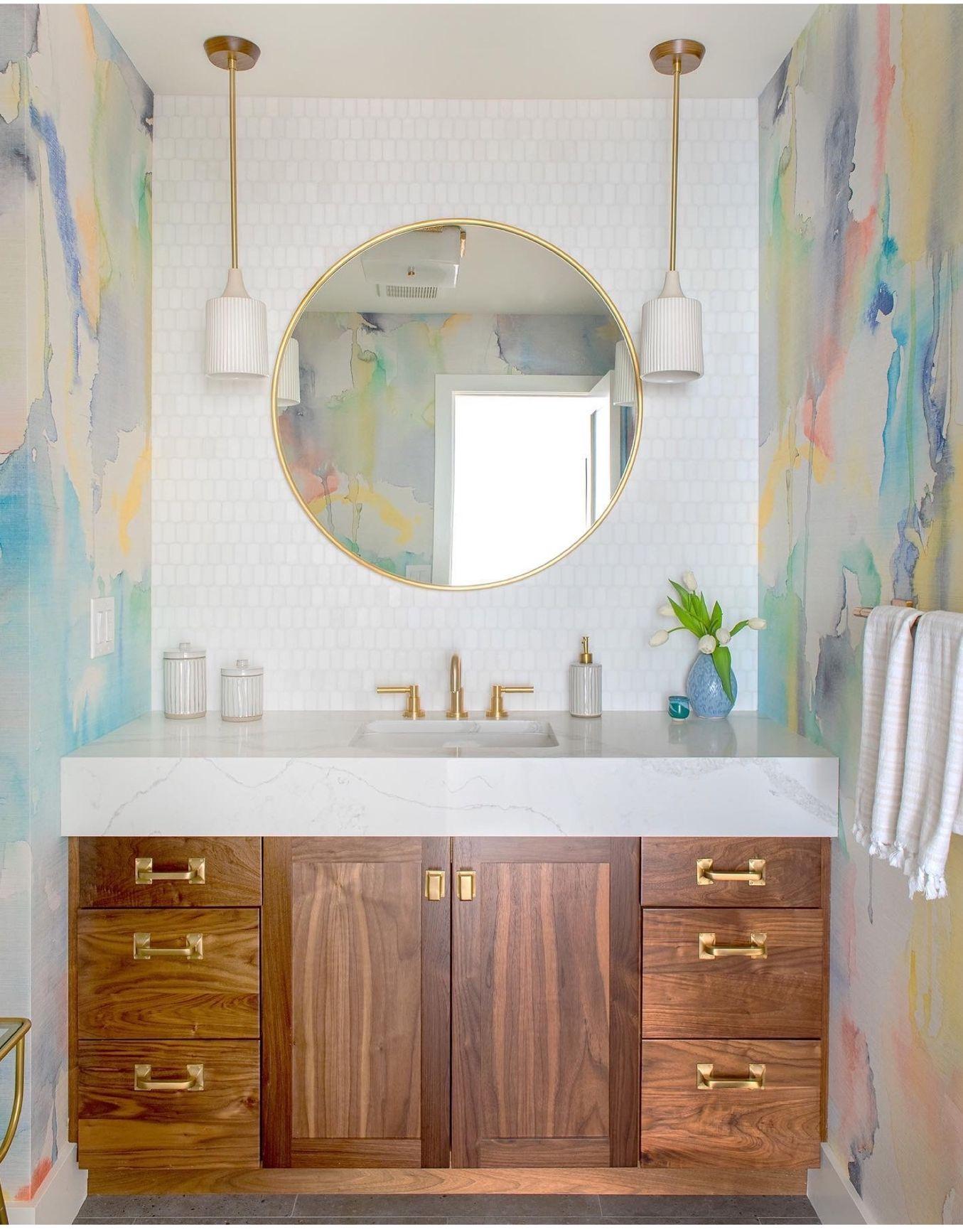 Phillip Jeffries Blur Wallcovering Bathroom Inspiration Round Mirror Bathroom Living Room And Dining Room Design
