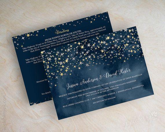 Wedding Invitations Navy Blue Watercolor Silver Glitter