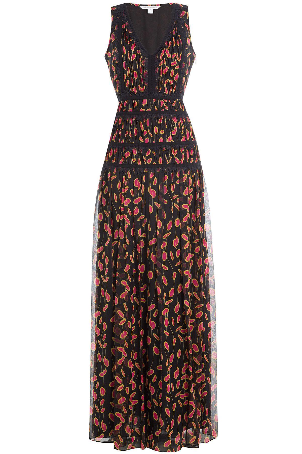 Diane von Furstenberg  Printed Silk Dress with Lace  Womenus