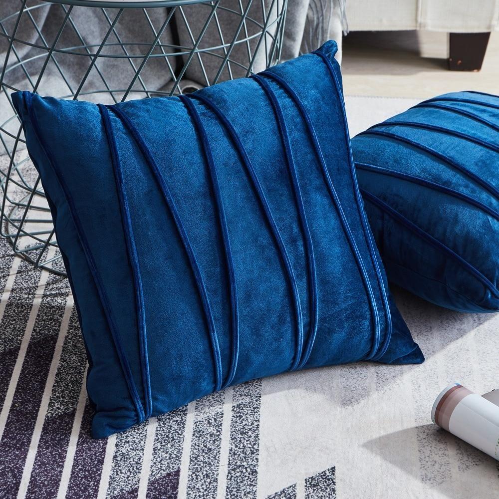 striped velvet cushion cover navy blue