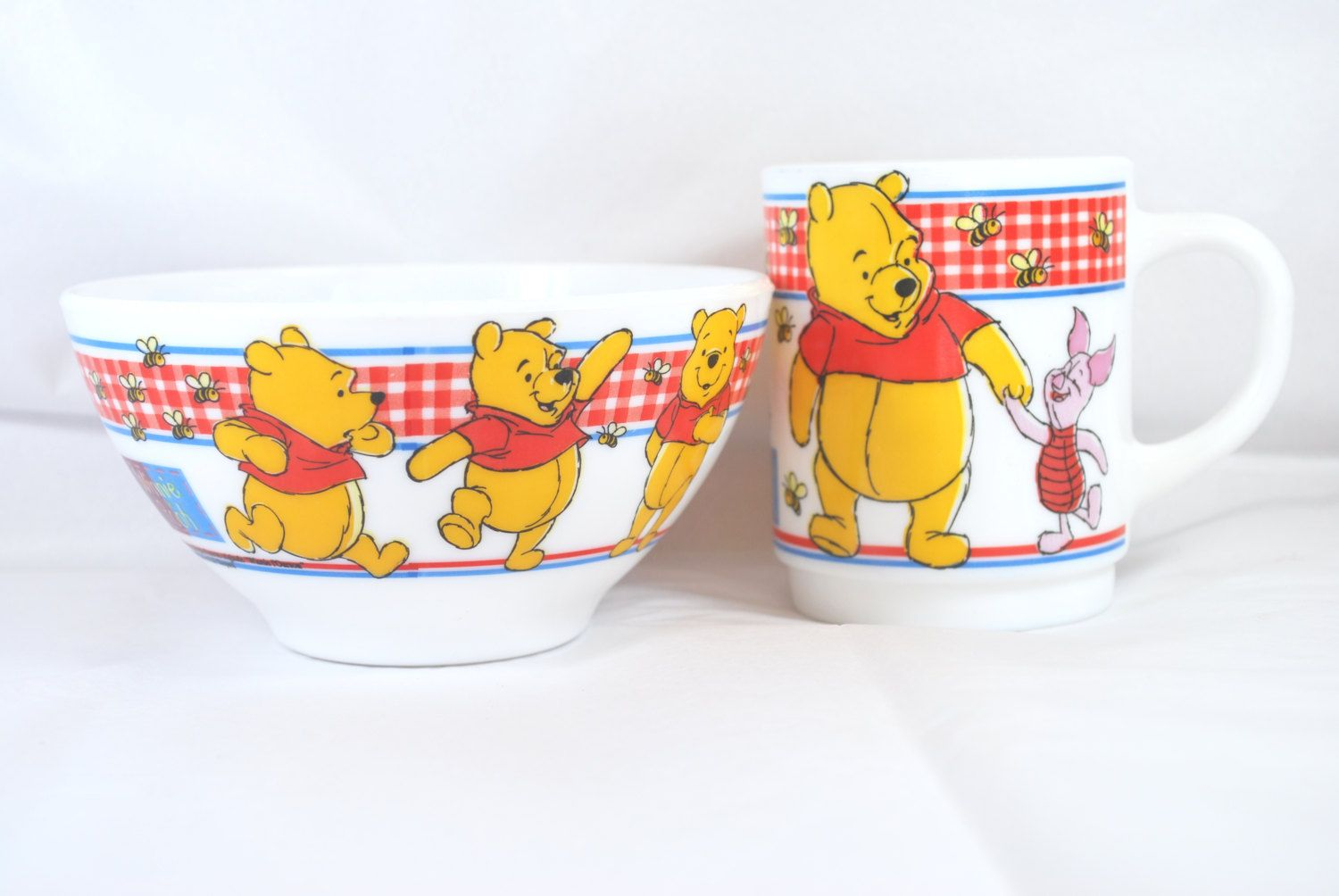 Bol et Tasse Winnie the Pooh , Ensemble de Vaisselle pour Enfants Arcopal by Dupasseaupresent on Etsy