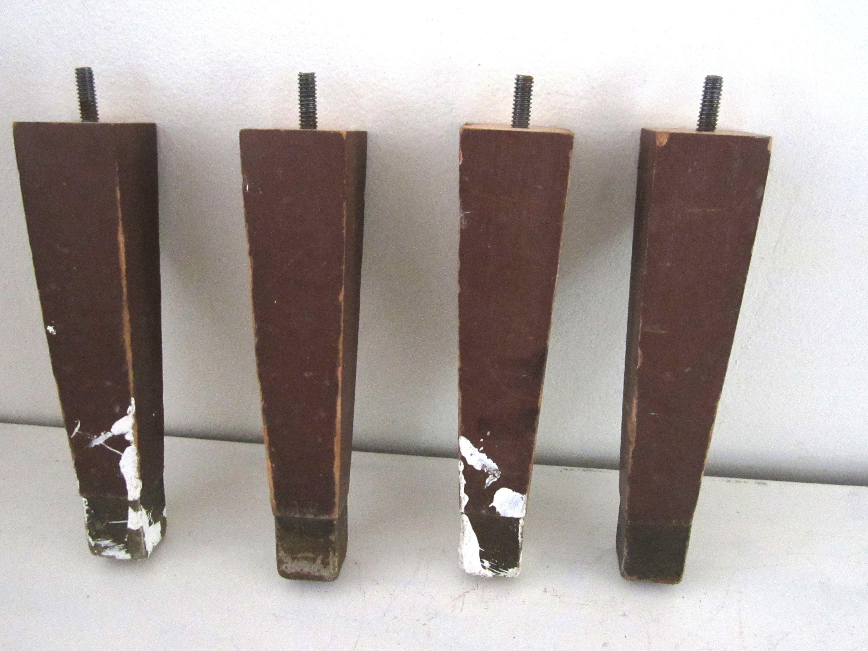Vintage Mid Century Furniture Legs 4 Wood Sofa Feet Footstool