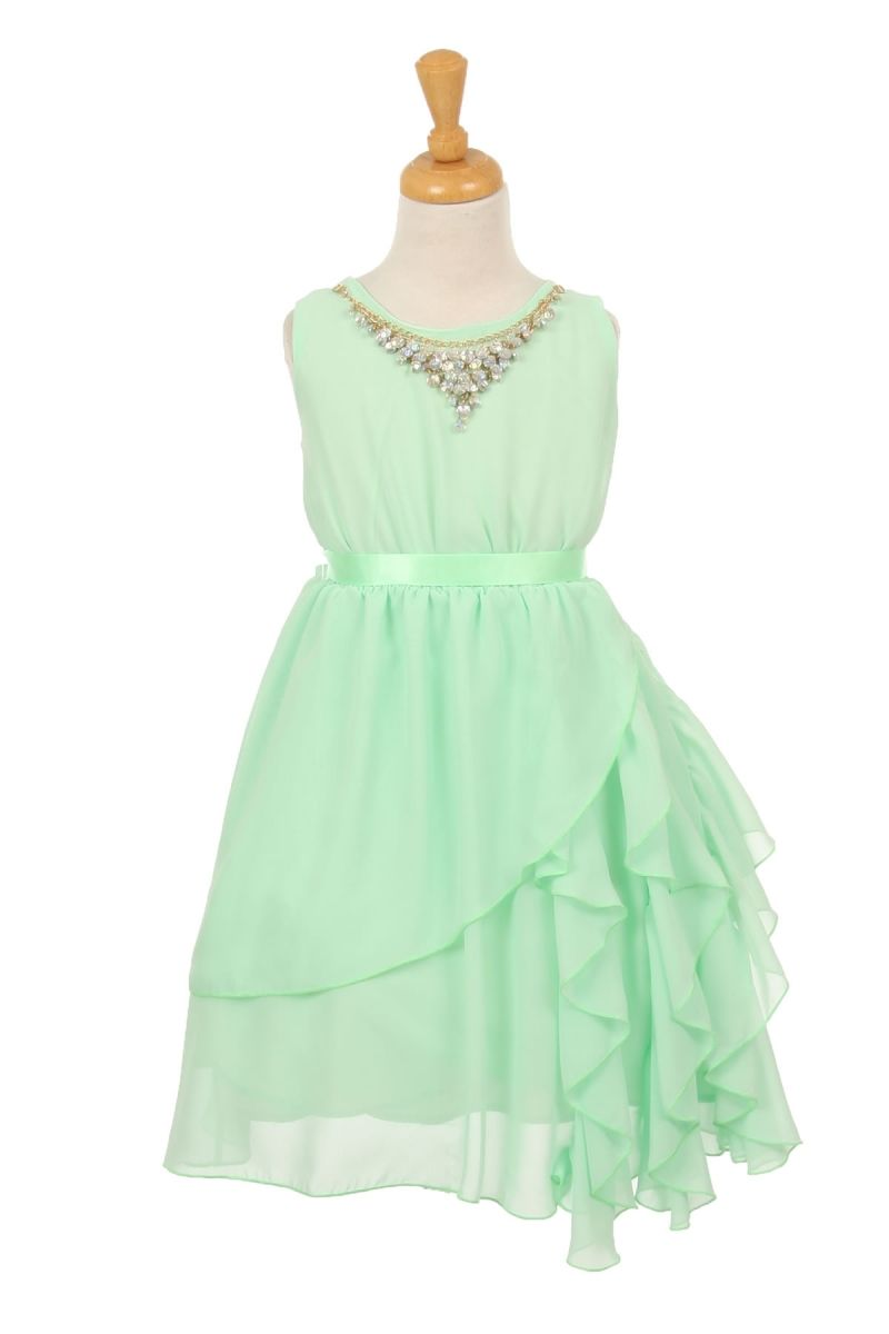 Girls Mint Chiffon Dress With Necklace | Kids Dress | Pinterest ...