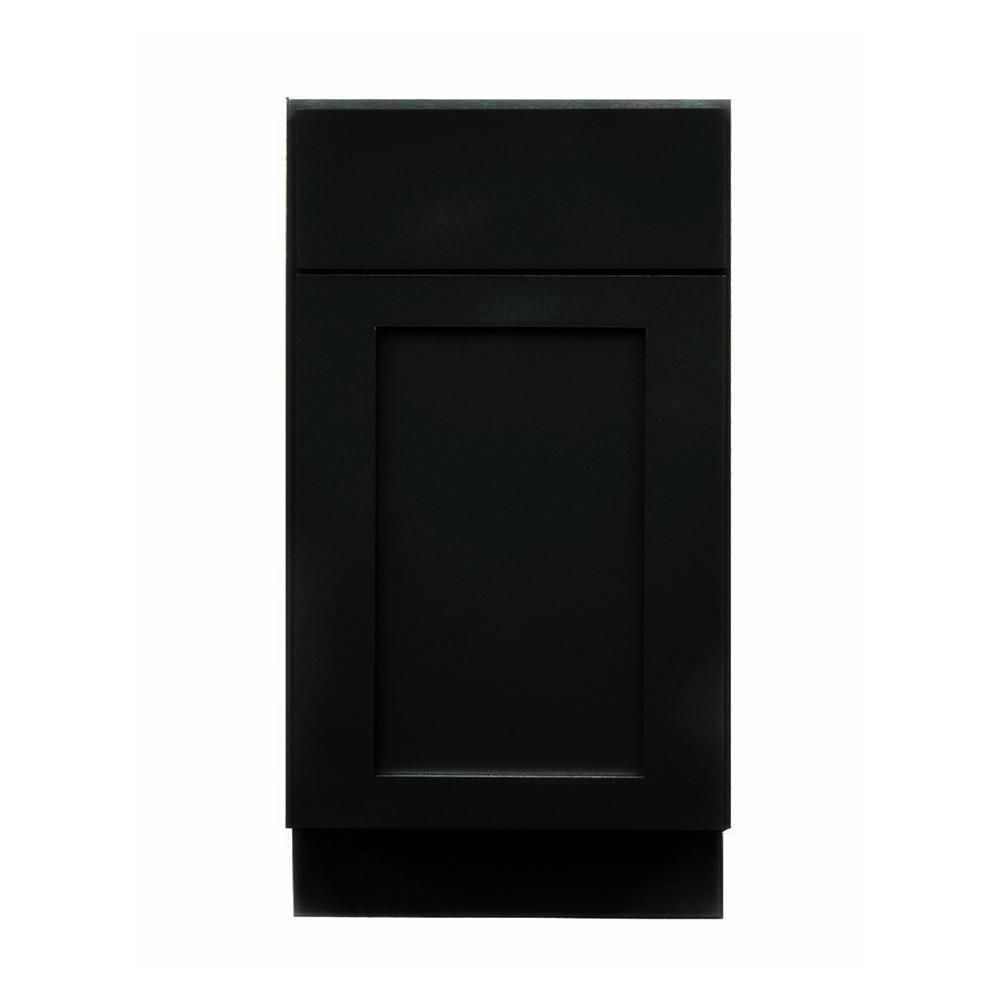 Krosswood Doors Black Satin Shaker Ii Ready To Assemble 18x34 5x24 In 1 Door 1 Drawer Base Cabinet Kb Bs B18 The Home Depot Base Cabinets Black Cabinets Kitchen Cabinets For Sale