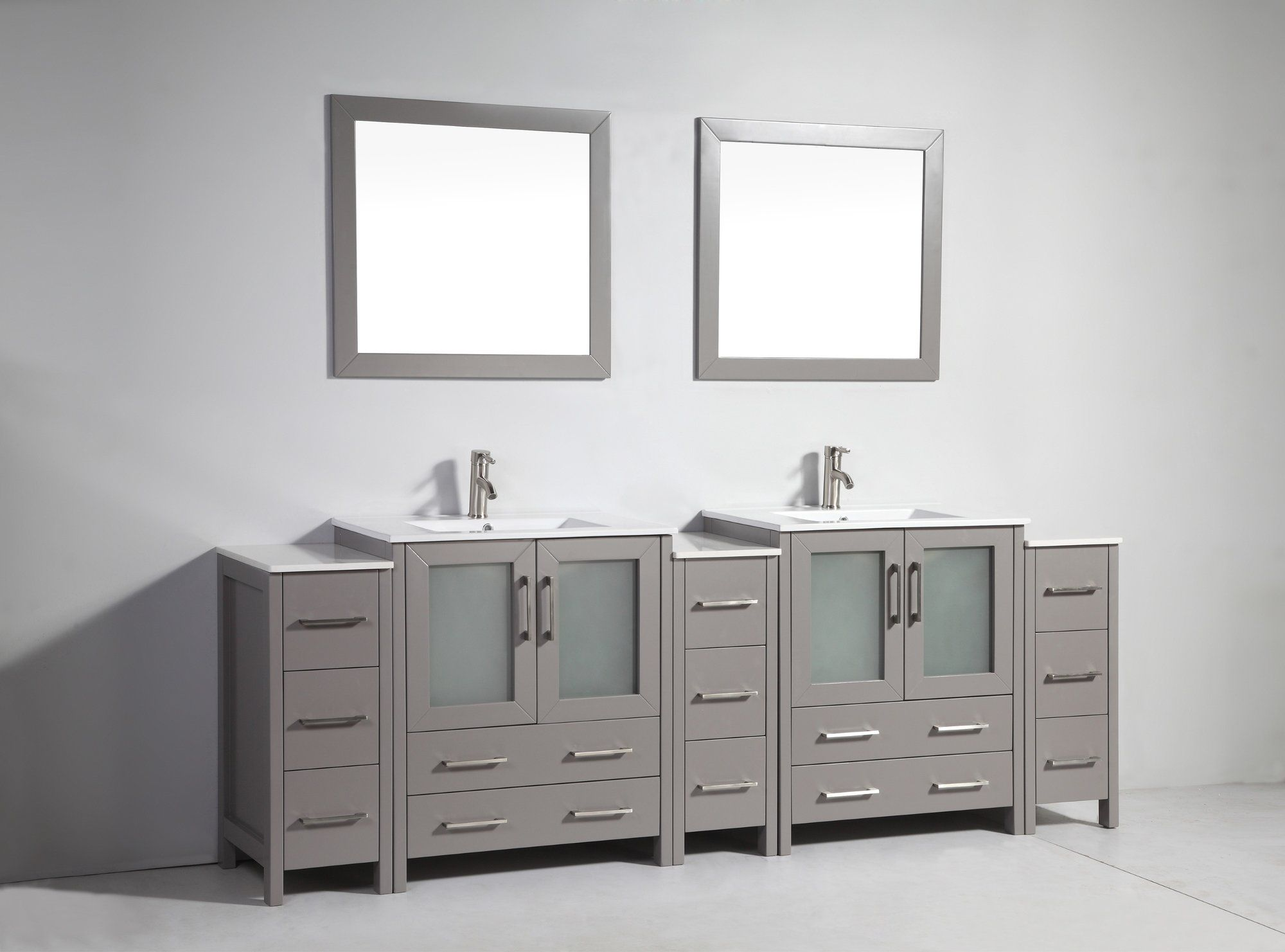 Modern Holley 96 Double Bathroom Vanity Set With Mirror