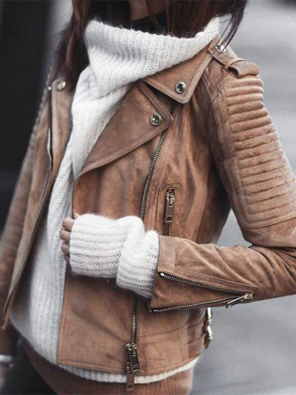 Braun Reißverschluss V Ausschnitt Langarm Warme Wildleder Mantel Bikerjacke Lederjacke Damen Mode
