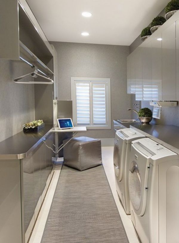 Laundry Room Cabinets Modern Launry Room Ideas Shelves Countertop Recessed Lighting Modern Laundry Rooms Laundry Room Design Laundry Room Lighting