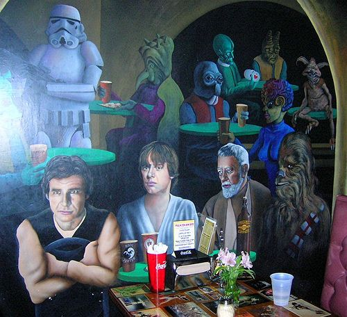 Asheville Pizza & Brewing Company wall mural Star Wars
