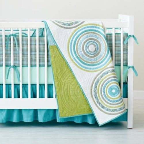 Land Of Nod Full Circle Crib Bedding Quilt Bumper Fitted Sheet