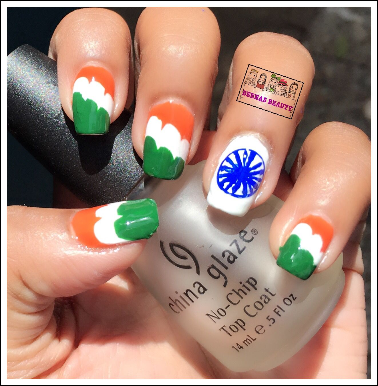 HAPPY 70th INDEPENDENCE DAY !!! INDIA FLAG MANI Free Hand Nail Art ...