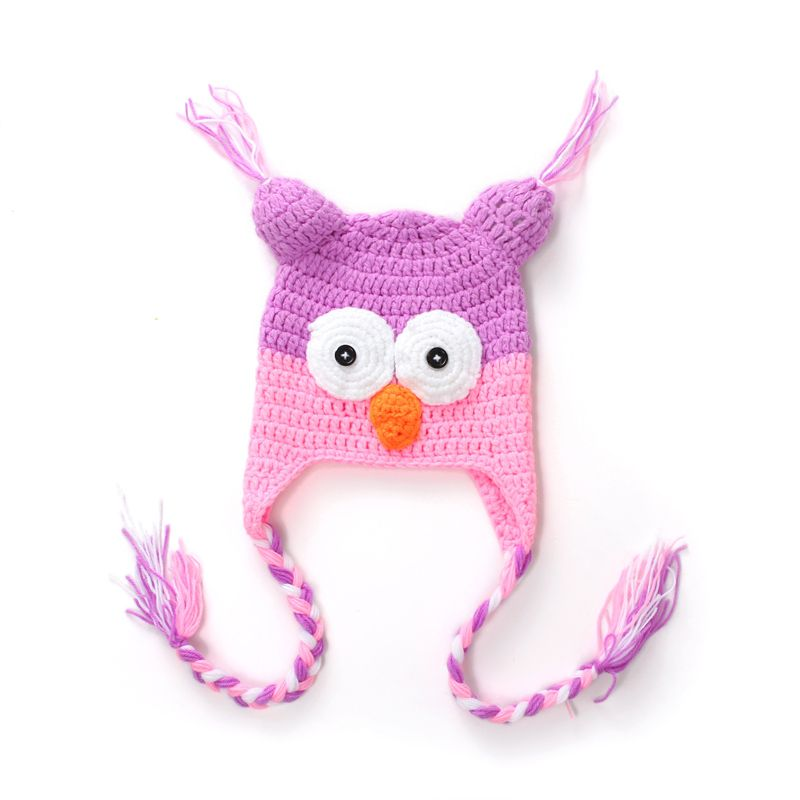 Wool Hand-woven Baby OWL Baby Pink Purple Color Cap Child Joker ...