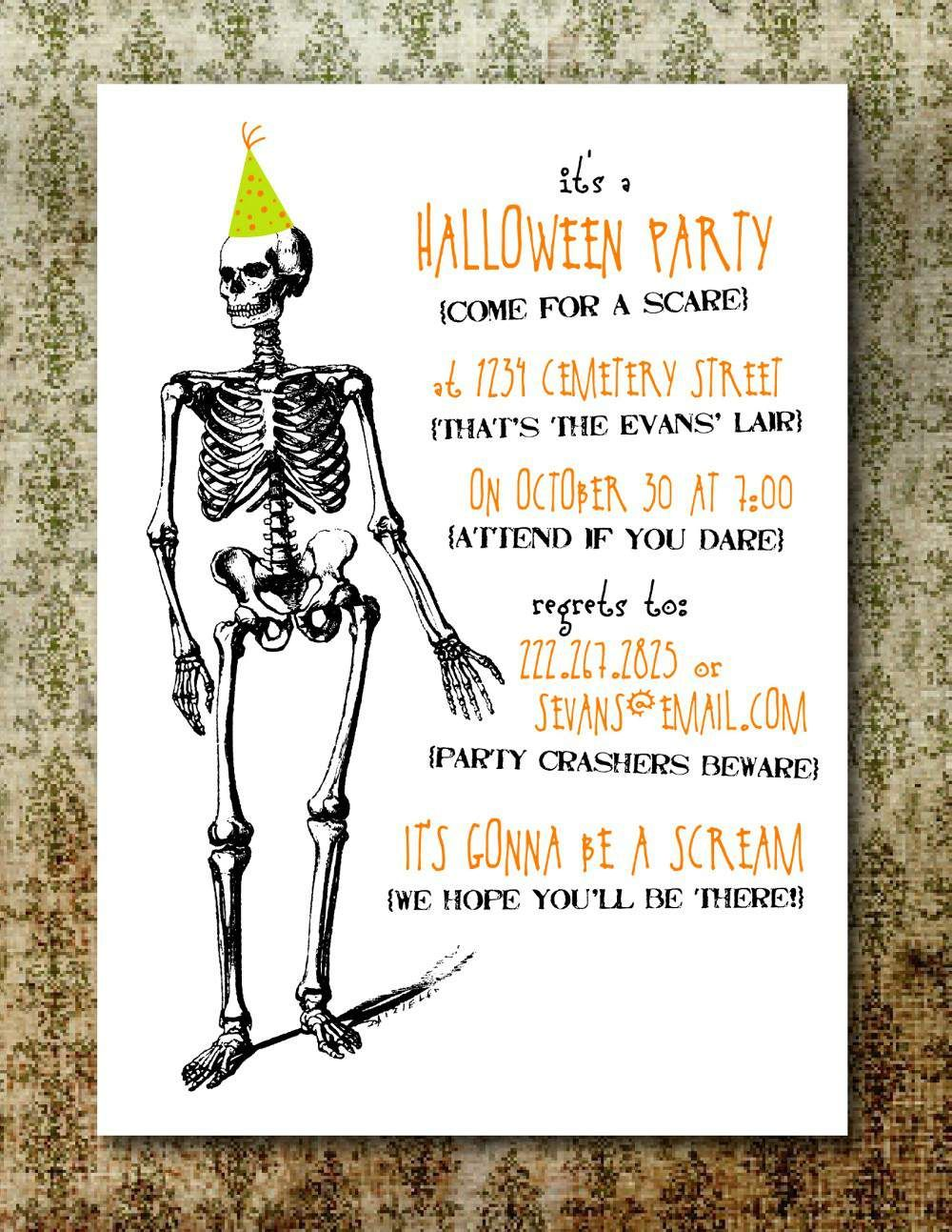 image about Printable Halloween Party Invitations referred to as Halloween Bash Invites Free of charge Printable  Creepy inside of 2019