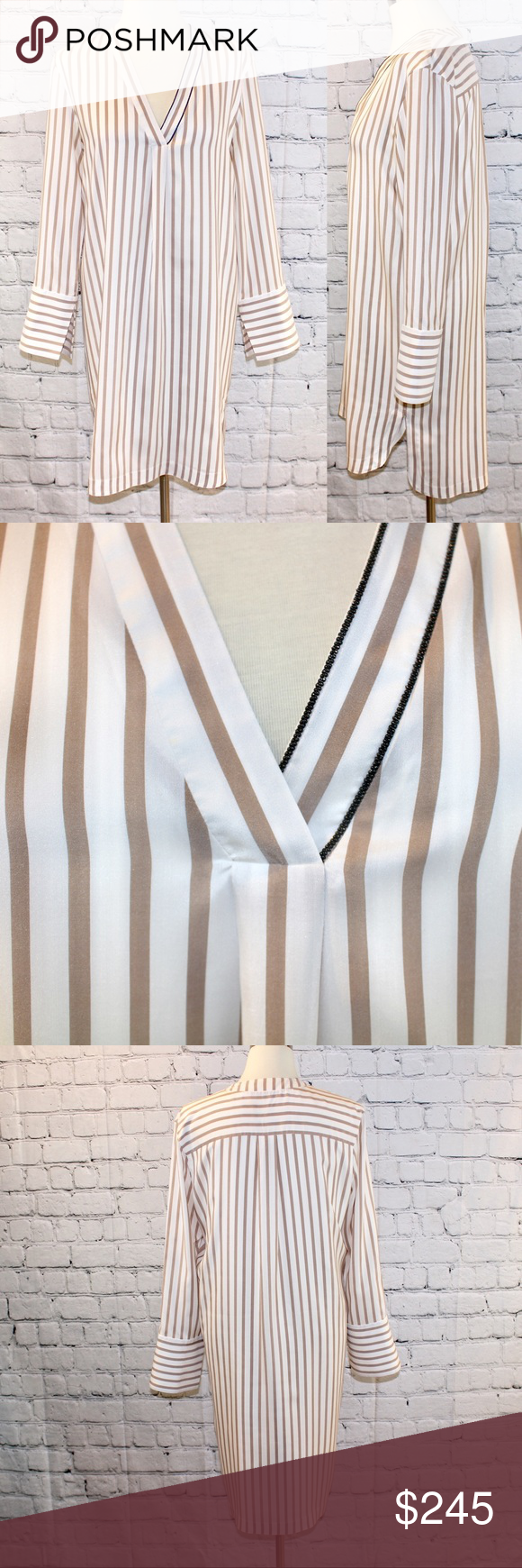 Brunello Cucinelli silk long tunic / nightshirt Monili beading, overall pristine condition, slight underarm staining (will post pics), has just been dry cleaned. Brunello Cucinelli Tops Tunics