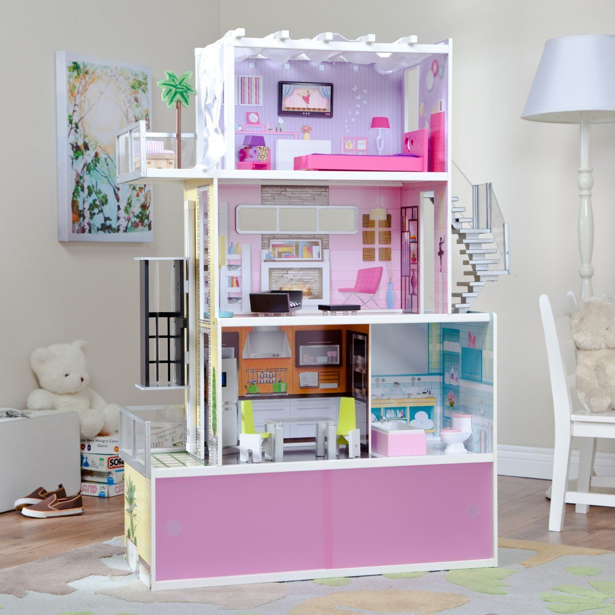 "KidKraft Wooden Beachfront Mansion w 14 Furnitures Kids/' Doll House for 12/"" Doll"