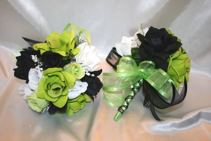 Wedding bridal bouquet lime green black white lily silk flowers 21pc wedding bridal bouquet lime green black white lily silk flowers 21pc mightylinksfo Images