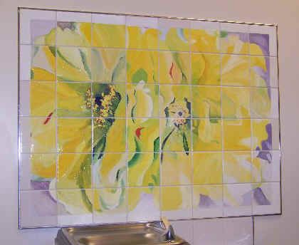 tile mural- make it on a smaller scale for outside display Use white ...