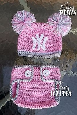 73d389e48f4 Hats 163224  Crocheted New York Yankees Hat Diaper Cover Set Baby Girl Ears  Or Pom Poms Pink -  BUY IT NOW ONLY   43 on eBay!