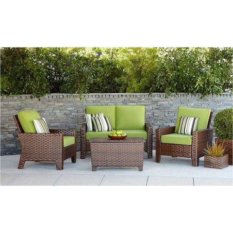Ordinaire Belmont 4 Piece Brown Wicker Patio Thick Woven Conversation Furniture Set  $799.2