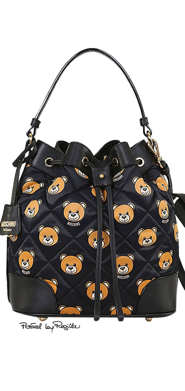 Leather quilted handbags and purses - Quilted Small Teddy Bear Print Bucket Bag By Moschino At Neiman Marcus