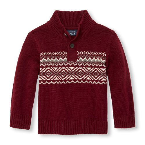 Toddler Boys Long Sleeve Fair Isle Button Mock Neck Sweater | Products