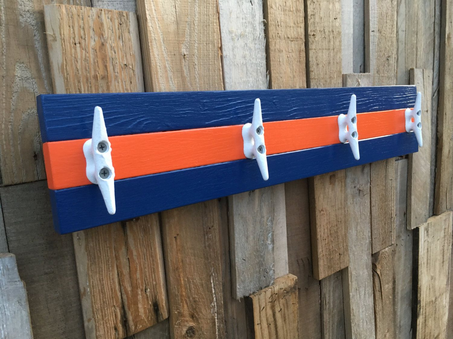Nautical Boat Cleat Dock Cleat Coat Rack Or Towel Rack Florida Gators Blue And Orange By Williswooddesigns On Ets Boat Cleats Dock Cleat Boat Cleat Towel Rack