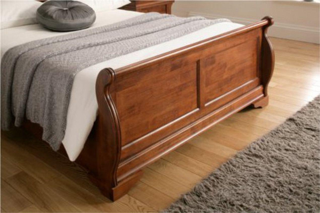 Louie Dark Wooden Sleigh Bed Wooden Sleigh Bed Wood Bed Design