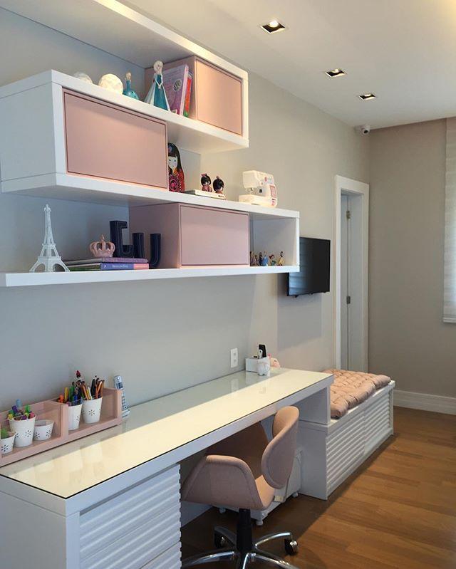 escritorio de habitacin infantil juvenil en blanco y rosa palo