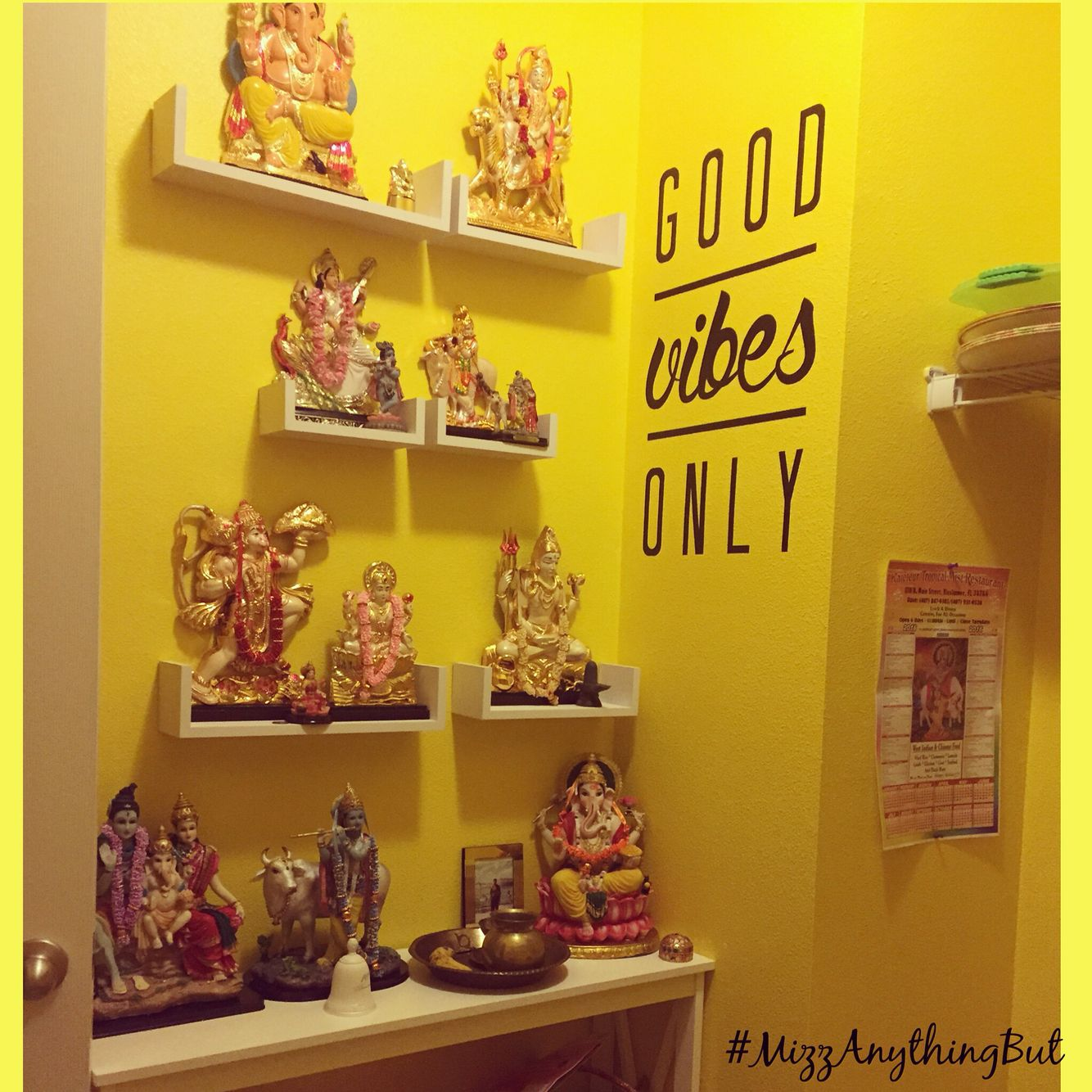 Hindu Prayer Room Using Floating Shelves And A Narrow End Table For Small  Spaces.