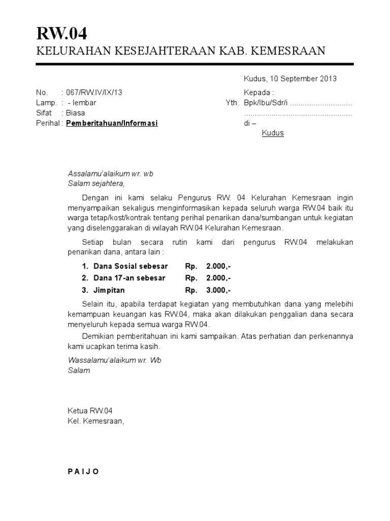Surat Edaran Dan Surat Pemberitahuan Warga Proposal 17
